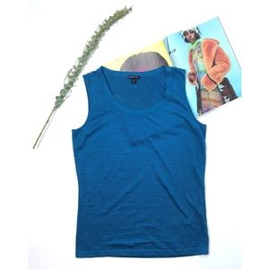 Knit sweater tank peacock blue